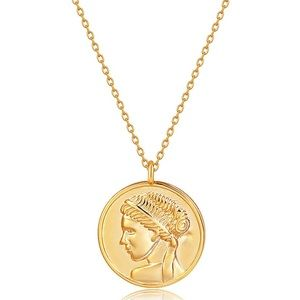 Italy 18k Gold Plated Coin Necklace